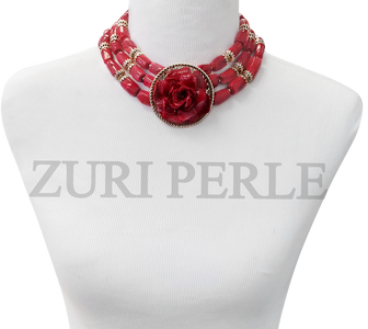 Zuri Perle red coral handmade necklace african inspired nigerian jeweler