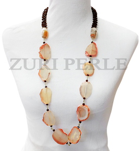Zuri Perle Agate Carnelian and Crystal Handmade necklace African Inspired Jewelry Nigerian Jeweler