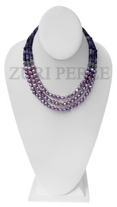 Chic, unique amethyst and fresh water pearl necklace designed and handmade at the Zuri Perle Studio in Missouri, U.S.A