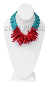 Zuri Perle Coral Howlite Handmade statement coral necklace African Inspired Jewelry Nigerian Jeweler