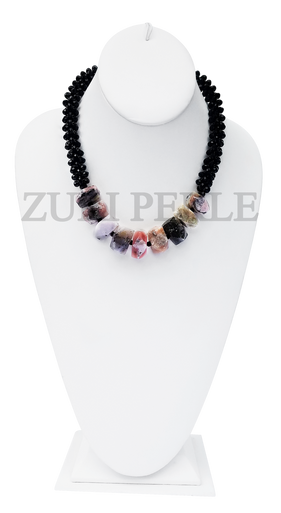 Zuri Perle Pink Opal Handmade statement necklace African Inspired Jewelry Nigerian Jeweler