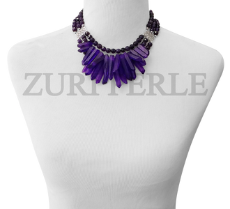 ZPPU403 - Amethsyt Semi Precious Beads Wedding Statement Necklace Sets