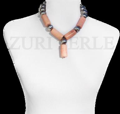 Zuri Perle Peach Coral tube necklace handmade necklace
