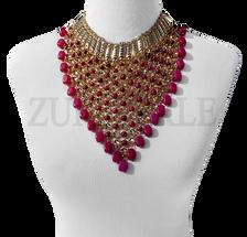 NEFE - Onyx Semi Precious Beads Wedding Statement Necklace Sets