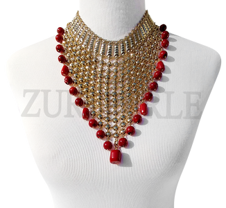 EFE - Coral Semi Precious Beads Wedding Statement Necklace Sets