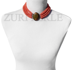 Zuri Perle Peach Coral chord necklace Unakite clasp handmade necklace