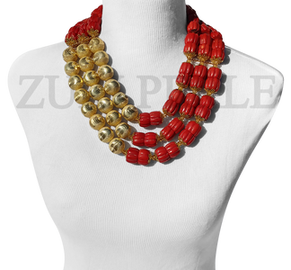 Zuri Perle Red Coral tube Statement Necklace Handmade Jewelry