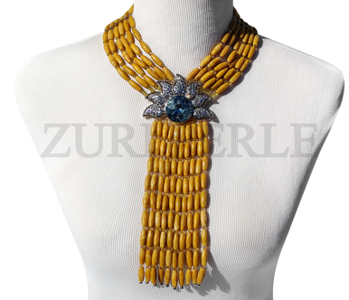 Chic, unique yellow jade wedding necklace designed and handmade at the Zuri Perle Studio in Missouri, U.S.A