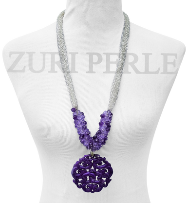 This timeless statement necklace is made with Amethyst round faceted beads, blueberry crystal beads and purple jade pendant