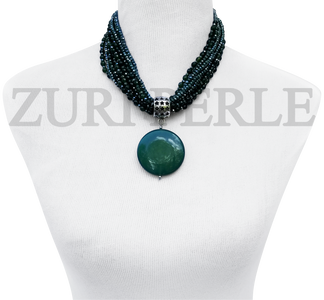 Chic, unique Jadeite  necklace designed and handmade at the Zuri Perle Studio in Missouri, U.S.A