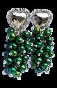 Women Handcrafted Green Pearl Earrings Made in America