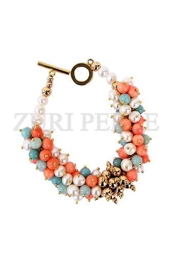 ASE - Women Handcrafted Pearl Amzonite Coral Bracelet Made in America