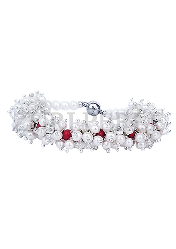 OYE - Women Handcrafted Pearl Red Coral Bracelet Made in America