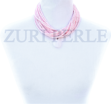 BOLA - Women Handcrafted Pearl Rose Quartz Necklace Made in America
