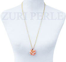 TEMI - Women Handcrafted Pearl Coral Pendant Necklace Made in America