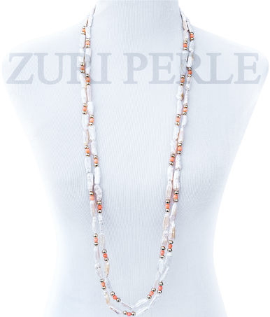 FEYI - Women Handcrafted Pearl Coral Necklace Made in America