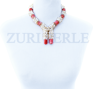MONI - Women Handcrafted Pearl Coral Necklace Made in America