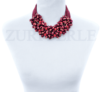 ODUN - Women Handcrafted Red Pearl Coral Necklace Made in America
