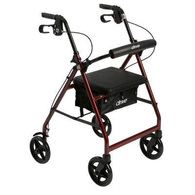 Drive Medical Aluminum Rollator with Fold Up and Removable Back Support and Padded Seat (R728RD)