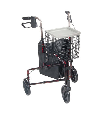 """Drive Medical Deluxe 3 Wheel Aluminum Rollator, 7.5"""" Casters (10289RD)"""