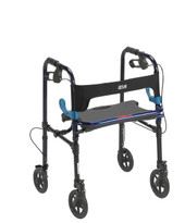 "Clever Lite Walker Rollator, Adult, 8"" Wheels, Flame Blue"