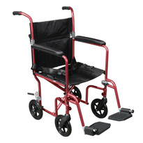 Deluxe Fly-Weight Aluminum Transport Chair with Removable Casters