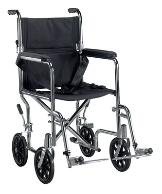 Drive Medical Deluxe Go-Kart Steel Transport Chair (Chrome)