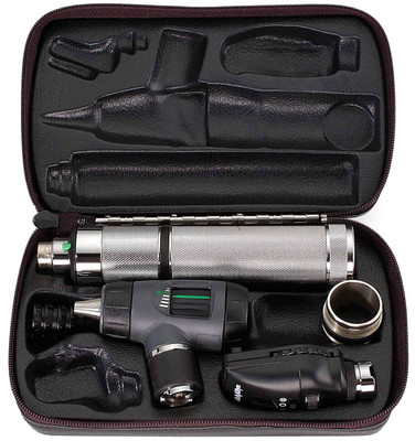 Welch Allyn Diagnostic Set, Nic-cad Handle With C Cell Battery Converter, Macro View With Throat Illuminator, Hard Case- Model 97100-MC