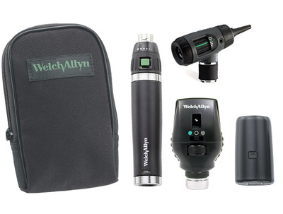 Welch Allyn Diagnostic Set, Lit-Ion Handle With Macro View With Throat Illuminator, Coaxial, Soft Case- Model 97201-MS
