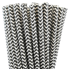 Paper Straws - Black Chevron