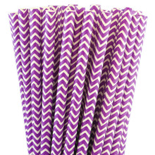 Paper Straws - Lilac Chevron