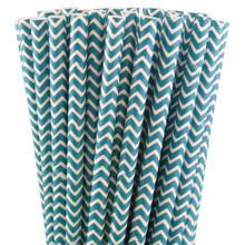 Paper Straws - Turquoise Blue Chevron