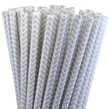 "7.75"" Silver Chevron Paper Drinking Straws"
