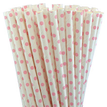 Paper Straws - Light Pink Small Dots