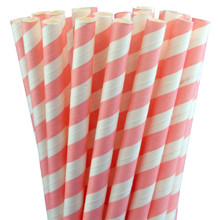 Jumbo Paper Straws - Light Pink Stripes