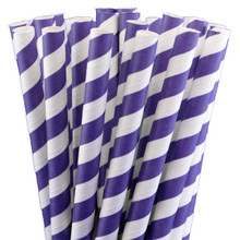 Jumbo Smoothie Paper Straws - Purple Stripes