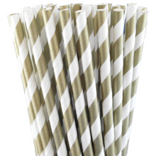 Paper Straws - Metallic Gold Stripes