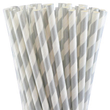 Paper Straws - Metallic Silver Stripes