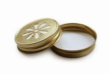 Daisy Mason Jar Lids - Gold