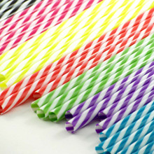 Reusable Striped Plastic Straw - 9""