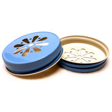 Daisy Mason Jar Lids - Light Blue