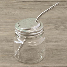 Stainless steel straw with EcoJarz mason jar lid