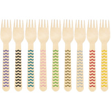 Printed Wooden Forks with Chevron Pattern