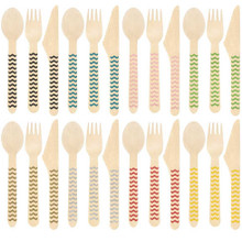 Wooden Cutlery with Chevron Prints on the Handle