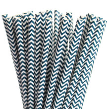 Dark Blue Navy Chevron Paper Straws