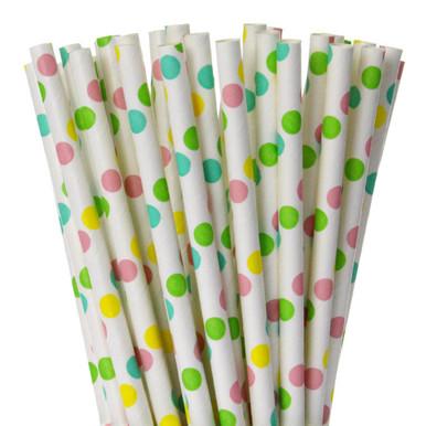 Pastel Polka Dot Paper Straws