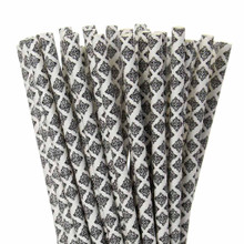 Black Damask Paper Straws