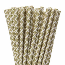 Damask Gold Paper Straws