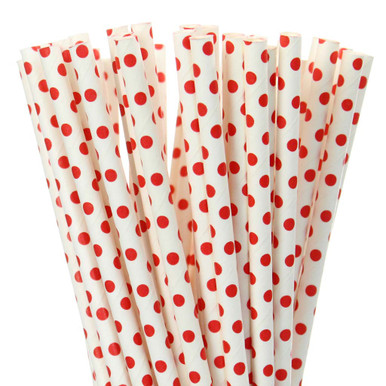 Red Small Dot Paper Straws