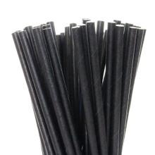 "7.75"" Standard Solid Black Paper Straws"